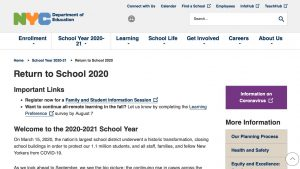 NYC DOE's Return to School 2020 website