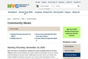 Community meals program over the winter break 2020