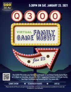 Q300 PTA Virtual Family Game Night 2021